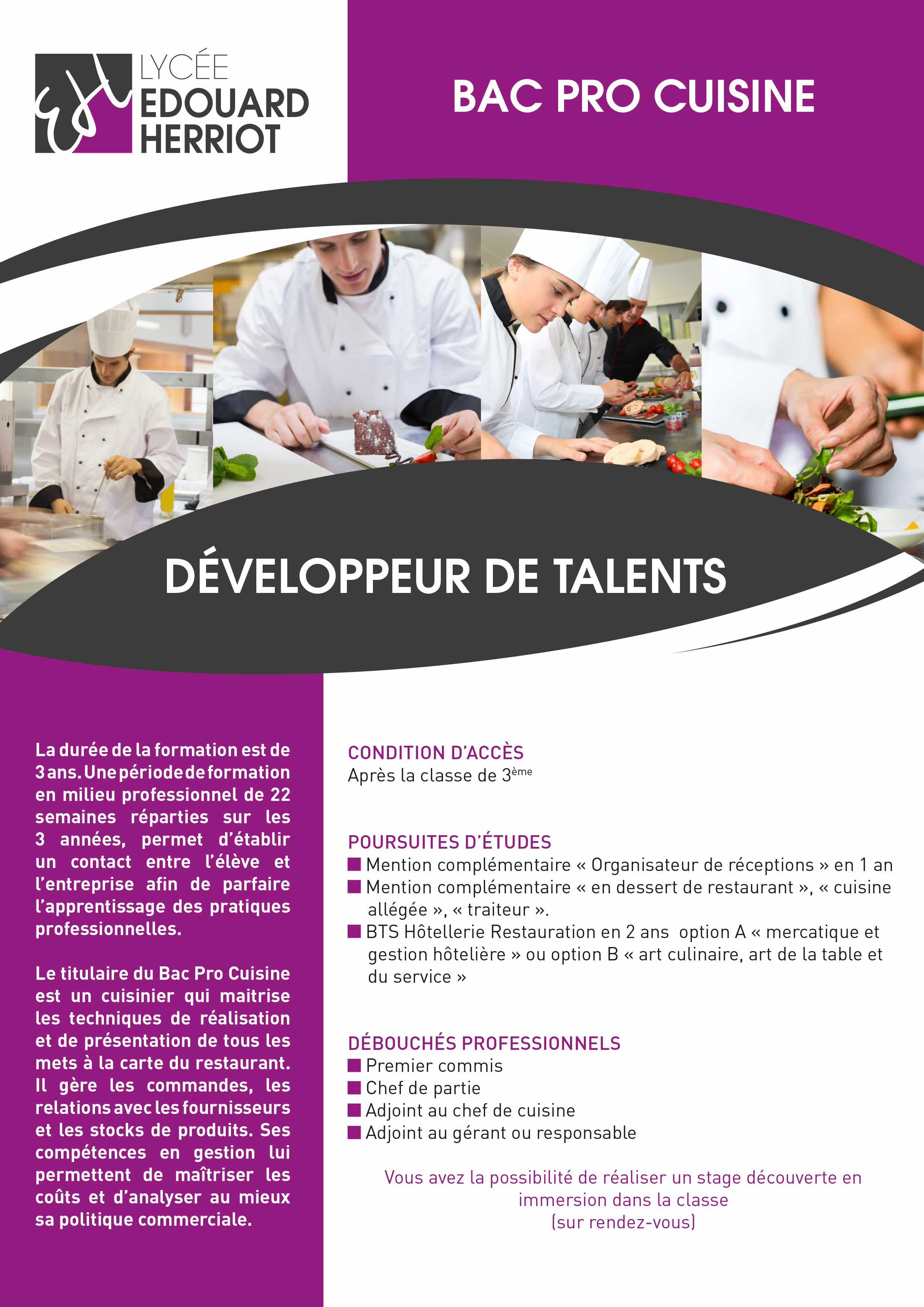 Bac pro cuisine lyc e edouard herriot - Fiche bilan de competences bac pro cuisine ...