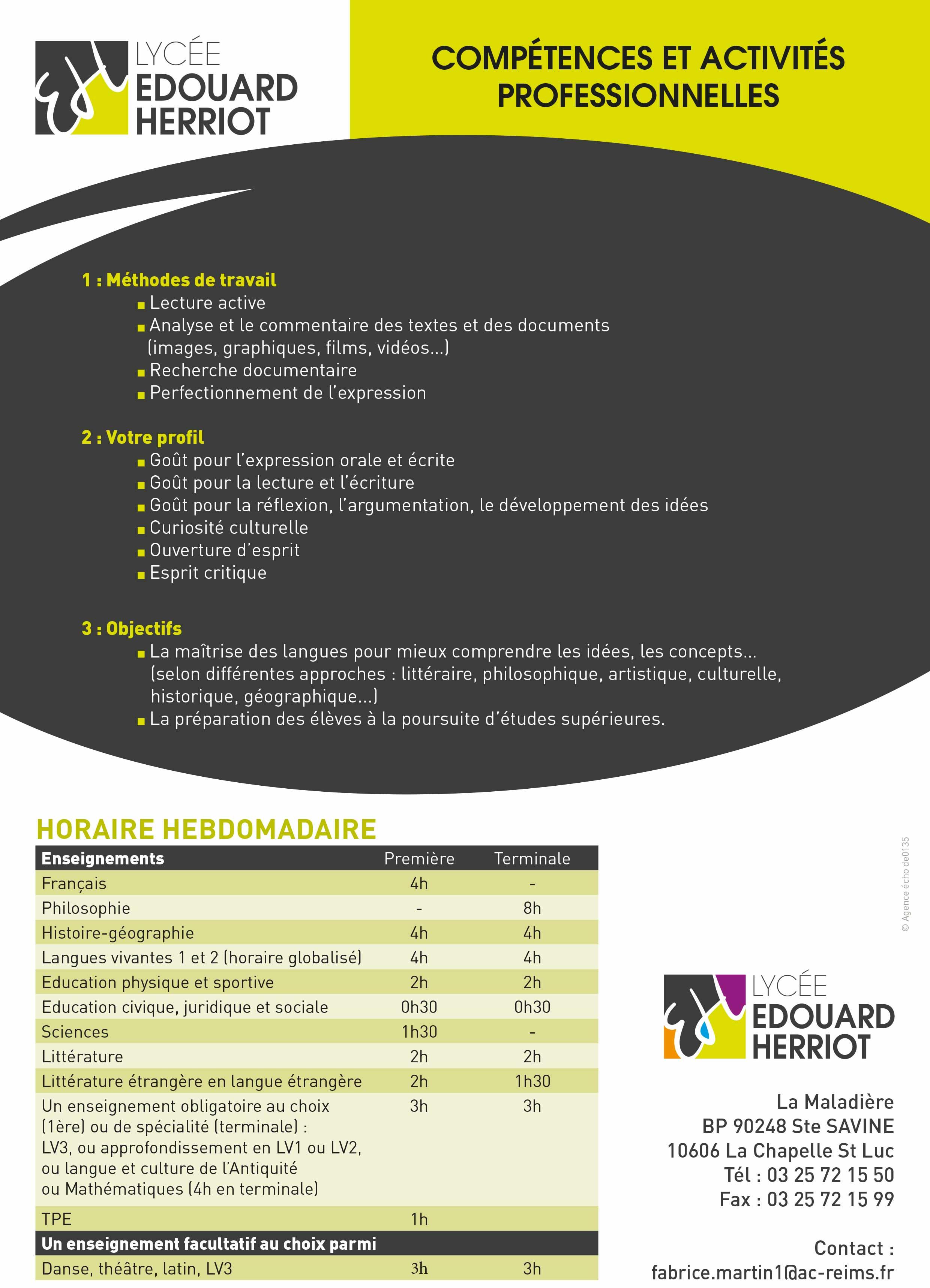 plaquette BAC Littéraire
