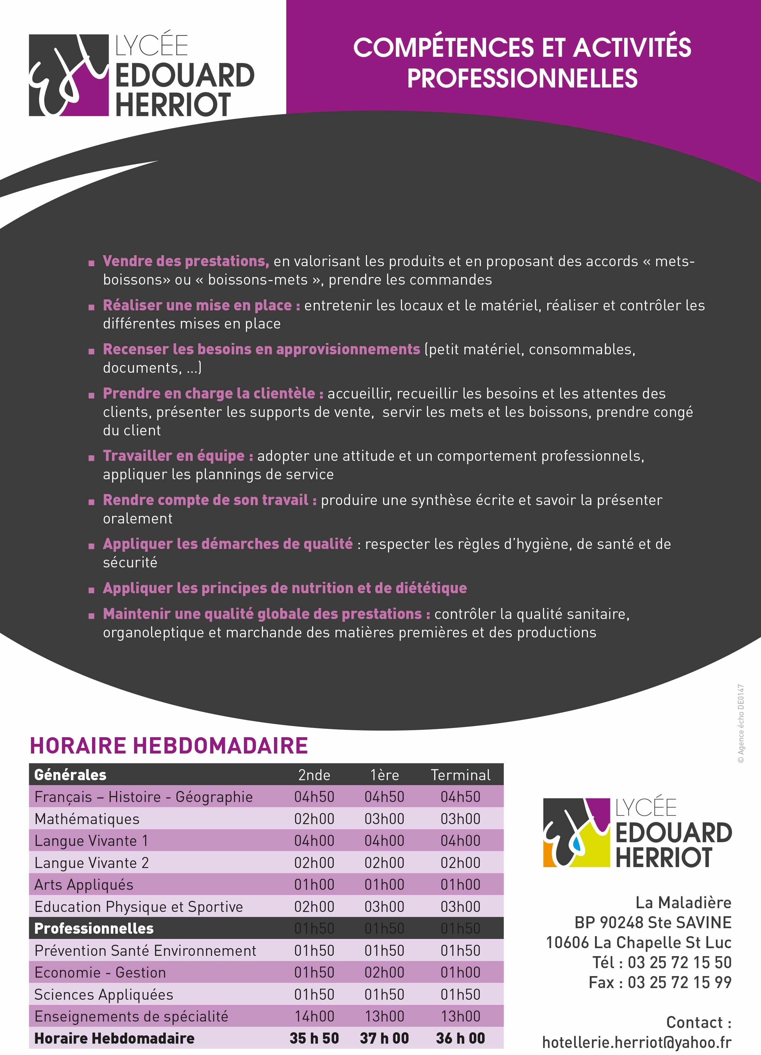BAC PRO Commercialisation et services en restauration. COMPÉTENCES ET ACTIVITÉS PROFESSIONNELLES.