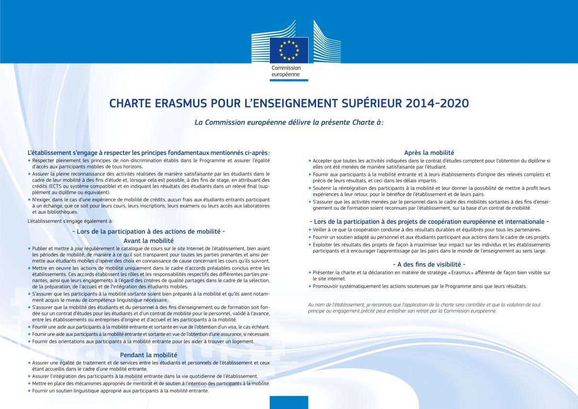 CHARTE ERASMUS POUR L'ENSEIGNEMENT SUPERIEUR DÉLIVRÉE AUX LYCÉE EDOUARD HERRIOT PAR LA COMMISSION EUROPÉENNE