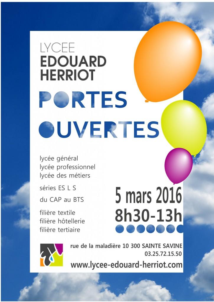 affiche des Portes Ouvertes Lycée Edouard Herriot le 5 mars 2016