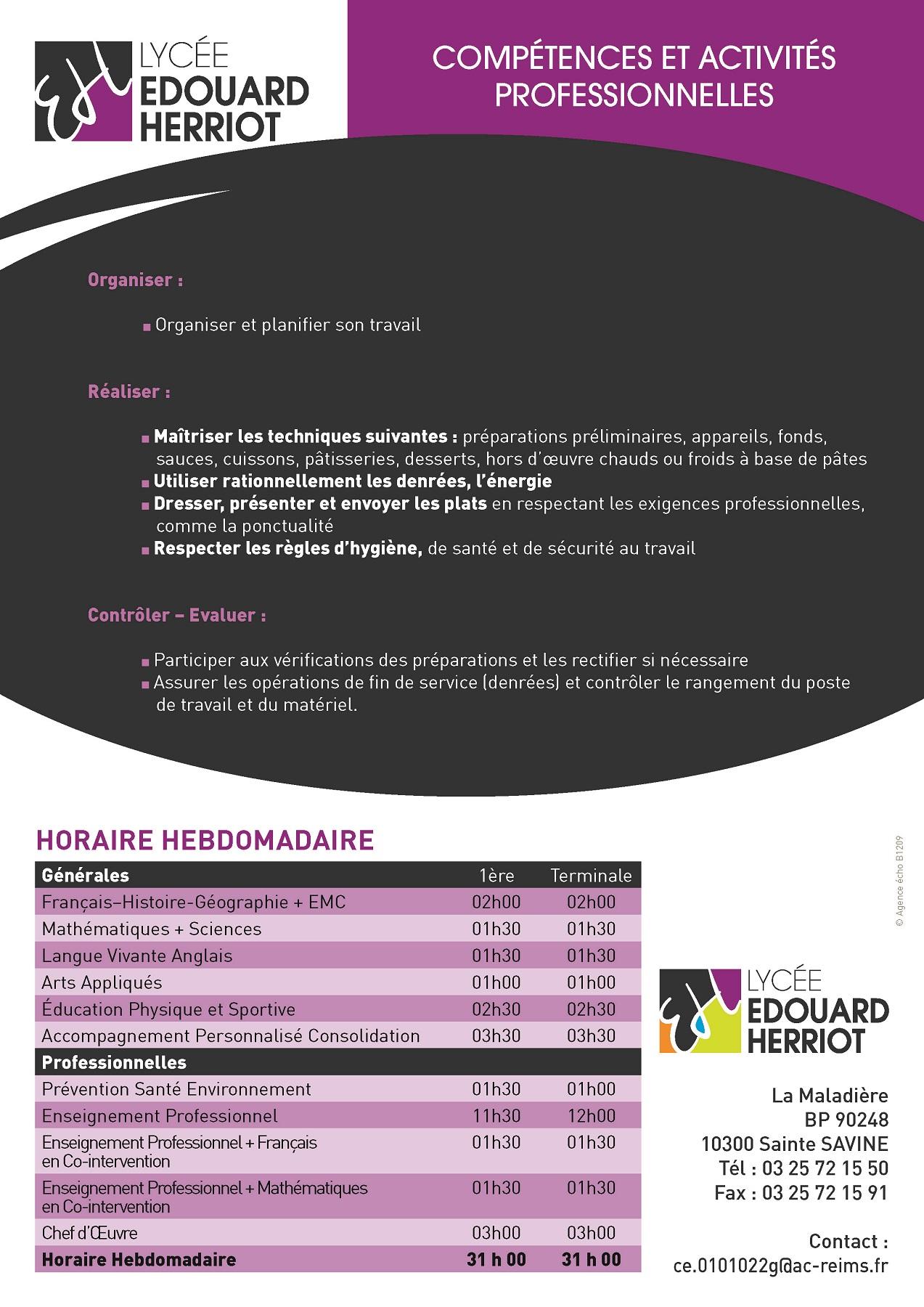 plaquette formation CAP cuisine
