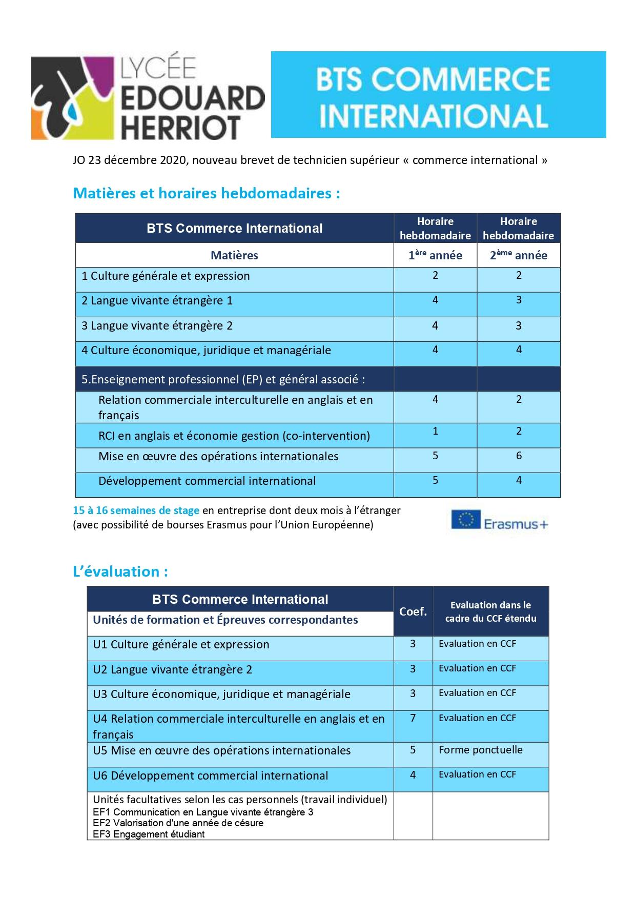plaquette formation BTS commerce international