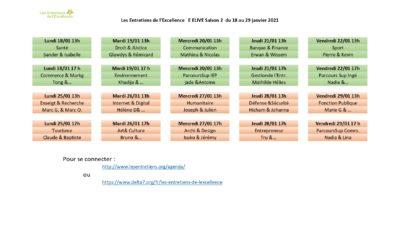 calendrier Entretiens d'Excellence